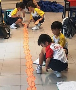 Students using non-standard units to measure length of class.jpg